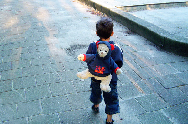 first school day: a little boy on his first school day, brave but anxious.