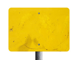 blank sign: Grungy yellow metal sign