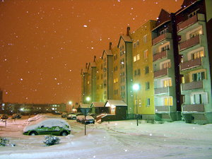 winter in Poland: ...big snow in small city