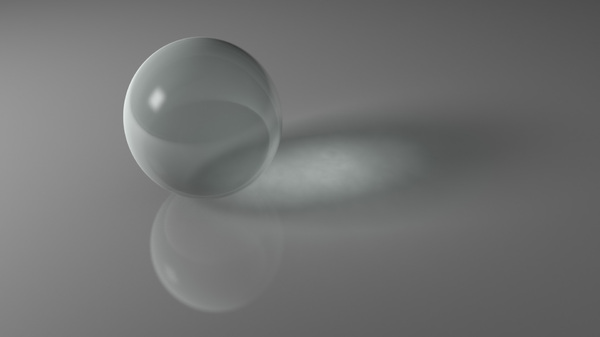 Ball with Caustics: An abstract picture of a ball with caustics, shadow and reflection on a soft grey background