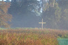 Wooden cross in garden: Plain wooden cross in garden/grounds of a Christian retreat centre