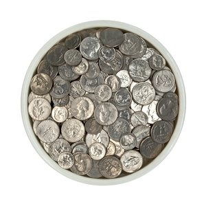 Bowl of Coins: A drop-down shot of a bowl of quarters and dimes.