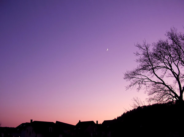New Moon at Dusk 2: Shot of the new moon at dusk. Sky has been digitally enhanced.