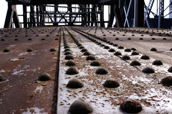 Rivets in perspective: Rivets on a bridge in Cleveland, Ohio.