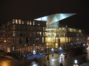 minneapolis public library at : the new minneapolis public library, in downtown minneapolis, at night.