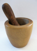 wooden mortar with pestle: some of my kitchen equipment