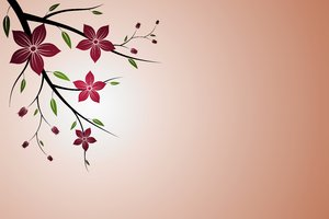 Floral Sprig: Floral sprig on a red background