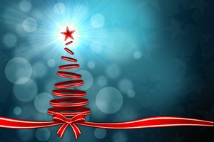 Christmas Background 2: Christmas background with Christmas Tree and ribbons - blue version