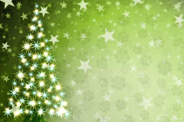 Stars Christmas Tree 2: Christmas tree consisting of a shining star on a background of snowflakes and stars