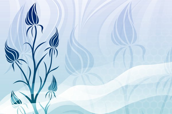 Blue Fantasy 1: Navy blue floral on a blue background and black floral on a white background