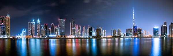 Dubai Downtown: Business Bay in Dubai with view of world's tallest tower Burj Khalifa