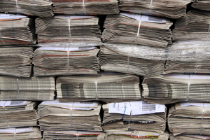 Newspaper pile 1: Pile of laced newspapers, waiting for the paperboys to be delievered