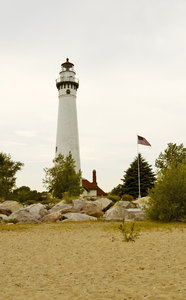 Wind Point Lighthouse: Photo of Wind Point lighthouse in Racine, WI taken from the beach.