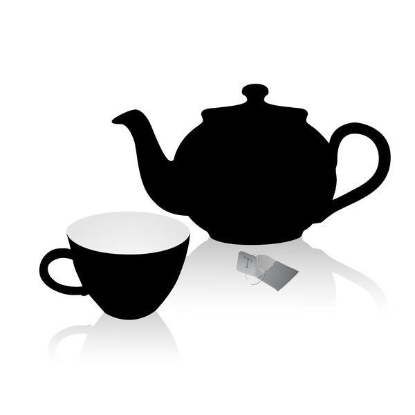 Tea Time: a nice pot, a cup and a teabag