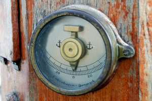 Inclination metering: Detail of navigation instrument from old polish sail Dar Pomorza
