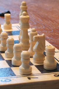White chess army 4: White pawns and pieces on the  chequer