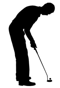 Golf player 1: Silhouette of golfer