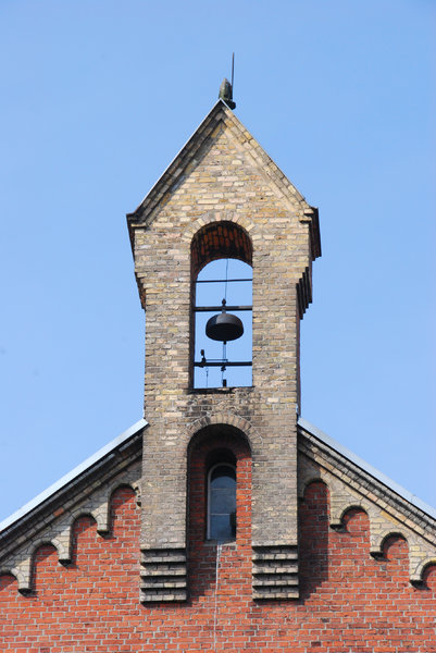 Old tower with the school bell: Bell on the tower of old school building