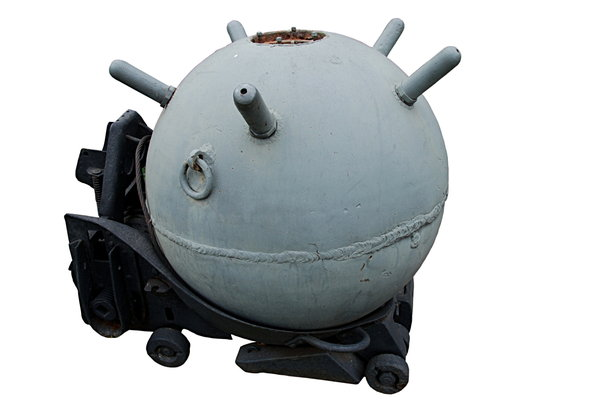 Contact naval mine 1: A naval mine is a self-contained explosive device placed in water to destroy ships or submarines