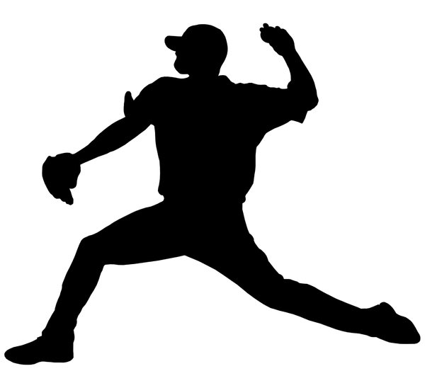 Baseball player 1: Silhouette of pitcher