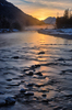 Obere Isar rivier Winter Sunset: