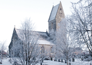Winter church: St Dochdwy church in winter.Llandough,Penarth,South Wales,GB