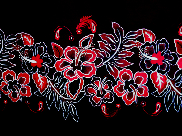Hibiscus border: Curtain fabric with hibiscus pattern.Red and blue are the original colours, and there are a couple of variations.