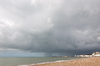 Storm by the seaside: A summer storm on the seafront at Hastings, East Sussex, England.