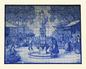 Madeira tile picture: Ancient glazed tile picture of the market in Madeira. Photography of this tile picture, which is situated in the historic public market, is freely permitted.