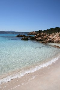 No tourists here!: An empty beach and the clear waters of the Maddalena Islands, Sardinia.