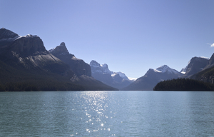 Sparkling lake: Maligne Lake, in the Rocky Mountains, Canada.