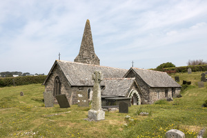 Ancient church: The ancient church of St. Enodoc in Cornwall, England. The church is a Grade I listed building from the 12th Century with later additions. Photography in the churchyard is freely permitted.