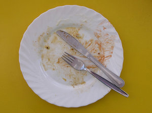 Eaten: A empty, dirty plate.Please mail me or comment this photo - let me know, where you have used it. Thanks!I would be extremely happy to see the final work even if you think it is nothing special! For me it is (and for my portfolio)!