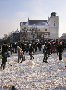 Pillow battle: A pillow fight in Warsaw.