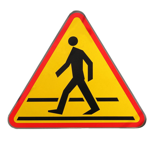 Pedestrian crossing sign: Pedestrian crossing sign. Polish one. May be little bit different than those in different countries.Please mail me if you found it useful. Just to let me know!I would be extremely happy to see the final work even if you think it is nothing special! For me
