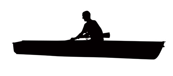 Boat silhouette: A silhouette of a man in a rowing boat. 