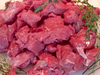Diced Meat: Raw diced stewing steak.