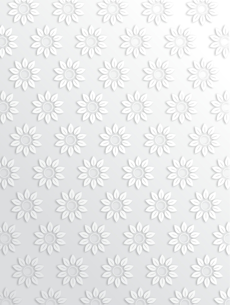Floral Pattern: Simple white greyscale flower pattern.