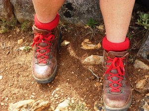 Walking boots: Walking boots with matching socks and laces!