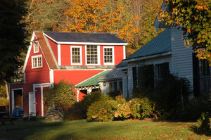 Red house: A red house in the fall in Newfane, Vermont