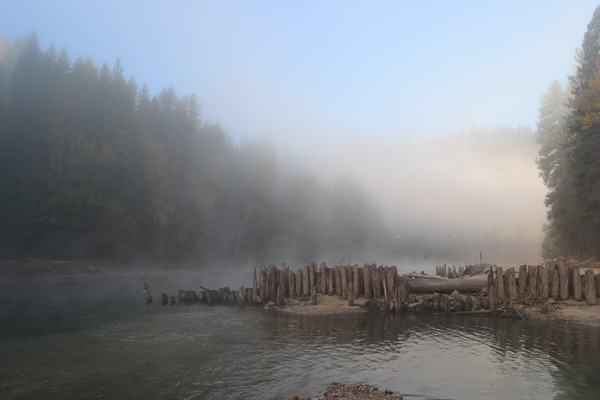 Dawn on the river 3: catching the first morning light on the river with fog