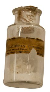 Old Drug: The name of the powder in the bottle was Alum, I have removed this from the  label, you may replace it with your own name. The drug store closed decades ago. The bottle is from 1898