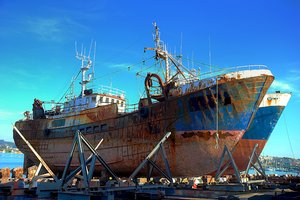 Old ships: Old ships in the port of Oza (Coruña, Galicia, Spain,EU)