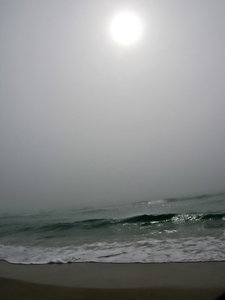 Gray Hazy Day: Sun through the fog at the beach