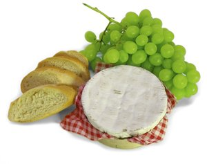 Grapes & Cheese: Green grapes, cheese and bread slices, isolated on white background.
