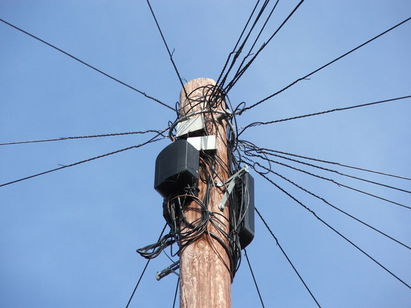 Communication: Telephone cables distributing from a telegraph pole