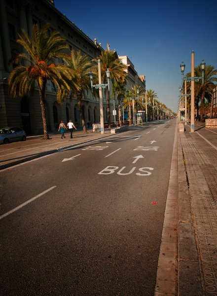 Bus Line Barcelona: In the centre of Barcelona sometimes there are no traffic