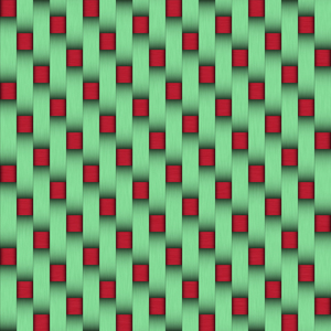 Red and green weave: Weave with green and red mixed together