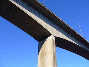 Bridges of the Tyne 4: A series of views showing the bridges over the River Tyne that link Newcastle and Gateshead.This is the Redheugh Bridge - built between 1980 and 1983 - viewed from the riverside walkway below.
