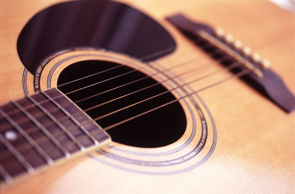 Acoustic guitar: sound box of an acoustic guitar and strings